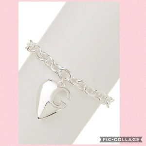 Gucci Sterling Silver G Heart Charm Bracelet